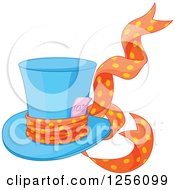 Clipart Of A Blue Mad Hatters Top Hat With A Ribbon And Ten Percent Discount Royalty Free Vector Illustration by Pushkin
