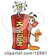 Clipart Picture Of A Sink Plunger Mascot Cartoon Character Standing With A Lit Stick Of Dynamite by Toons4Biz