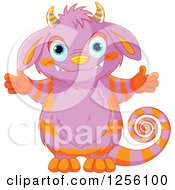 Clipart Of A Cute Purple And Orange Striped Monster With Open Arms Royalty Free Vector Illustration
