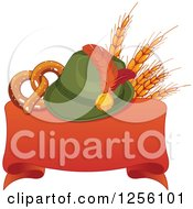 Clipart Of A German Oktoberfest Hat With Wheat And A Soft Pretzel Over A Red Ribbon Banner Royalty Free Vector Illustration
