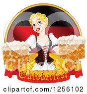Clipart Of A Blond Beautiful Beer Maiden With Oktoberfest Beer Over A German Flag Royalty Free Vector Illustration