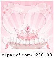 Pink Princess Crown On A Pillow Under A Torn Ribbon Banner On Pink Rays