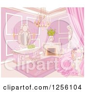 Clipart Of A Fancy Princess Boudoir Bedroom Interior With A Gown On A Chair Royalty Free Vector Illustration by Pushkin
