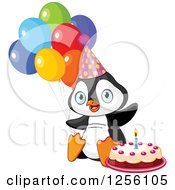 Clipart Of A Cute Birthday Party Penguin With Cake And Balloons Royalty Free Vector Illustration