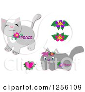 Cute Peace Gray Cats With Flowers And A Heart