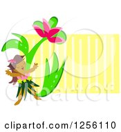 Clipart Of A Happy Hula Girl And Giant Flower Over Yellow Stripes Royalty Free Vector Illustration by bpearth