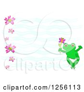 Cute Frog With A Butterfly And Flowers Over Waves