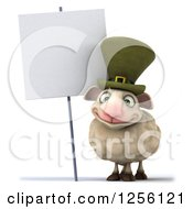 Clipart Of A 3d Irish Sheep By A Blank Sign Royalty Free Illustration