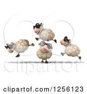 Clipart Of A 3d Group Of Sheep Wearing Sunglasses And Jumping Royalty Free Illustration