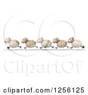 Clipart Of A 3d Group Of Sheep Running In A Line Royalty Free Illustration