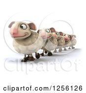 Clipart Of A 3d Group Of Sheep Walking In A Line Royalty Free Illustration
