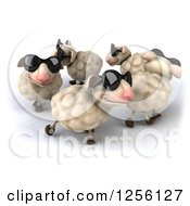 Clipart Of A 3d Group Of Sheep Wearing Sunglasses In A Circle Royalty Free Illustration