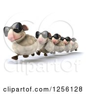 Clipart Of A 3d Group Of Sheep Wearing Sunglasses And Running In A Line Royalty Free Illustration