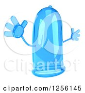 Clipart Of A 3d Blue Condom Character Jumping Royalty Free Illustration