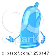 Clipart Of A 3d Blue Condom Character Presenting Royalty Free Illustration