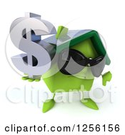 Clipart Of A 3d Happy Green Home With A Thumb Down And Dollar Symbol Royalty Free Illustration