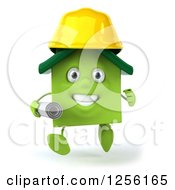 Clipart Of A 3d Green House Contractor Running With Blueprints Royalty Free Illustration