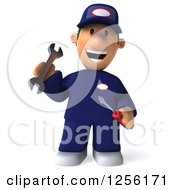 Clipart Of A 3d Happy Male Auto Mechanic Jumping In Blue Coveralls Royalty Free Illustration