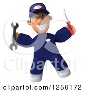 Clipart Of A 3d Happy Male Auto Mechanic In Blue Coveralls Royalty Free Illustration