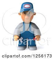 Clipart Of A 3d Sad Male Auto Mechanic In Overalls Royalty Free Illustration