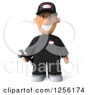 Clipart Of A 3d Happy Male Auto Mechanic In Black Coveralls Royalty Free Illustration