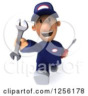 Clipart Of A 3d Running Happy Male Auto Mechanic In Blue Coveralls Royalty Free Illustration