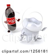 Clipart Of A 3d Tooth Running From A Soda Bottle Royalty Free Illustration