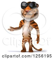 Clipart Of A 3d Tiger Wearing Sunglasses And Presenting Royalty Free Illustration