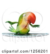 Clipart Of A 3d Green Parrot Surfing Royalty Free Illustration