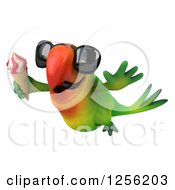 Clipart Of A 3d Green Parrot Wearing Sunglasses And Flying With An Ice Cream Cone Royalty Free Illustration