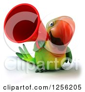 Clipart Of A 3d Green Parrot Using A Megaphone Royalty Free Illustration