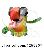 Clipart Of A 3d Green Parrot Wearing Sunglasses And Eating An Ice Cream Cone Royalty Free Illustration