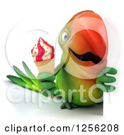 Clipart Of A 3d Green Parrot Holding An Ice Cream Cone Around A Sign Royalty Free Illustration