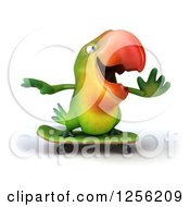 Clipart Of A 3d Green Parrot Skateboarding Royalty Free Illustration