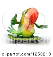 Clipart Of A 3d Green Parrot Holding A Thumb Up And Skateboarding Royalty Free Illustration