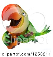 Clipart Of A 3d Green Parrot Flying And Playing A Guitar Royalty Free Illustration