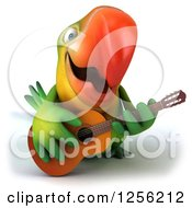 Clipart Of A 3d Green Parrot Playing A Guitar Royalty Free Illustration