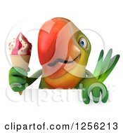 Clipart Of A 3d Green Parrot Holding An Ice Cream Cone Over A Sign Royalty Free Illustration