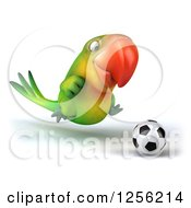 Clipart Of A 3d Green Parrot Playing Soccer Royalty Free Illustration