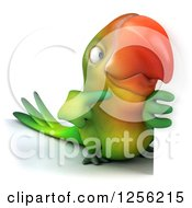 Clipart Of A 3d Green Parrot Pointing Around A Sign Royalty Free Illustration