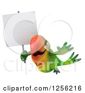 Clipart Of A 3d Green Parrot Flying With A Blank Sign Royalty Free Illustration