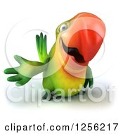 Clipart Of A 3d Green Parrot Presenting Royalty Free Illustration