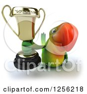 Clipart Of A 3d Green Parrot Holding Up A Trophy Royalty Free Illustration