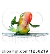 Clipart Of A 3d Green Parrot Surfing And Holding A Thumb Up Royalty Free Illustration