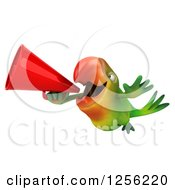 Clipart Of A 3d Green Parrot Flying And Anouncing With A Megaphone Royalty Free Illustration