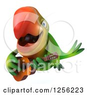 Clipart Of A 3d Green Parrot Playing A Guitar And Flying Royalty Free Illustration