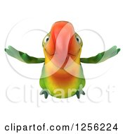 Clipart Of A 3d Green Parrot Flying Forward Royalty Free Illustration