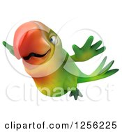 Clipart Of A 3d Green Parrot Flying To The Left Royalty Free Illustration