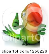 Clipart Of A 3d Green Parrot Holding A Thumb Up Around A Sign Royalty Free Illustration
