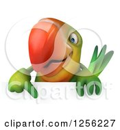 Clipart Of A 3d Green Parrot Pointing Down At A Sign Royalty Free Illustration